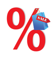 discount sale blue with paper bag vector image vector image