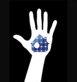 hand with solar house vector image