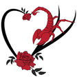 valentine frame with roses and scorpion vector image