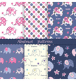 Set of seamless patterns with elephants vector image vector image