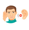 deaf male character with ear closeup and stop sign vector image
