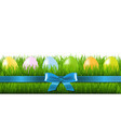 easter grass border with eggs vector image