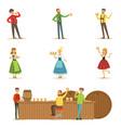 oktoberfest beer festival scenes with people in vector image