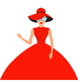 Woman in red elegant hat and big dress sunglasses vector image