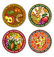 set of seasonal autumn round drink coasters for vector image vector image