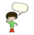 cartoon boy in poor clothing giving thumbs up vector image