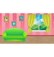 Pink Room With Green Sofa vector image