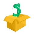 Cardboard box with green dollar sign icon vector image
