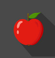 red apple cartoon flat icondark blue background vector image