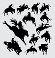 Rodeo cowboy riding animal silhouettes vector image