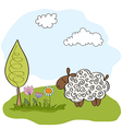 spring greeting card with sheep vector image