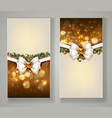 two elegant christmas greeting cards with bow and vector image