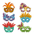woman masks with feathers for masquerade vector image