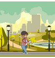 man walking using gadget vector image