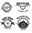 set of vintage and modern bike shop logo badges vector image