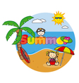 beach and children vector image