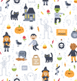 Halloween super seamless pattern on white vector image vector image