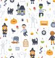 Halloween super seamless pattern on white vector image
