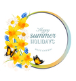Happy Summer Holidays banner with flowers and vector image vector image