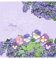 Background with lilac and pansies vector image