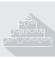 Birthday cake icon with long shadow vector image
