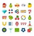 Casino 25 flat icons vector image