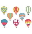 Flying colorful hot air balloon icons vector image