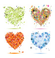 Four seasons hearts - spring summer autumn winter vector image