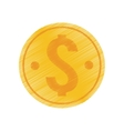 hand draw coin money dollar color vector image