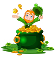 Leprechaun and Pot of gold vector image