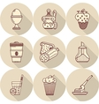 Tasty food flat line icons vector image