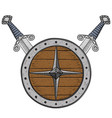 viking round shield with swords colored hand vector image