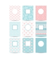 Pink and blue romantic card templates vector image