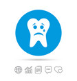 tooth sad face with tear sign icon aching tooth vector image