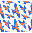 seamless pattern blue tropical bird on a white vector image