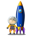 An astronaut with an orange suit standing beside vector image vector image