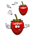 Playful smiling red strawberry fruit cartoon vector image