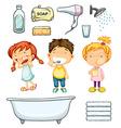 Children and bathroom set vector image vector image