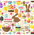 Happy Easter Flat Design White Seamless Pattern vector image