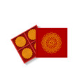 chinese moon cake in opened gift box top view vector image