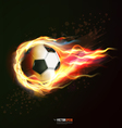 flying soccer ball on fire isolated on black vector image