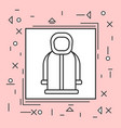 hoody coat icon thin line in pink frame vector image