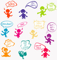 Kids with chat bubbles with sale messages vector image