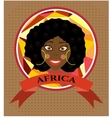 Label with smiling woman vector image