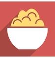 Porridge Bowl Flat Longshadow Square Icon vector image