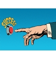 The red success button hand presses vector image