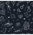Valentine doodle seamless pattern with hearts vector image