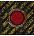 Vekton dirty old rusty red button on the scratched vector image