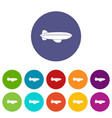 blimp aircraft flying icons set flat vector image