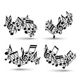 black jolly wavy staves with musical notes on vector image